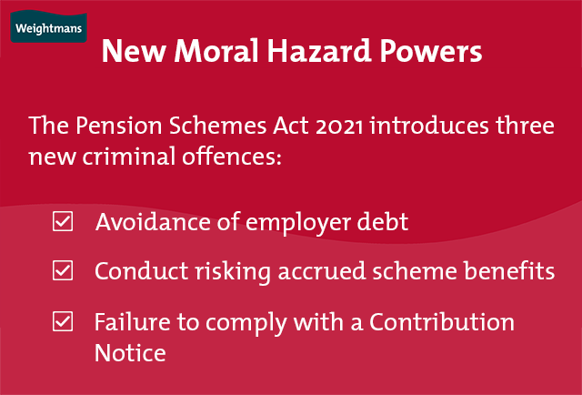 The Pension Schemes Act 2021 introduces three new criminal offences