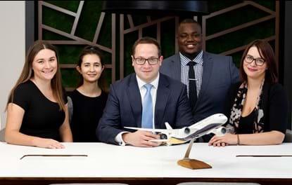 Weightmans aviation team - Harriet Edwards; Camelia Nesarim; team head, Andrew Krausz; Oyin Ogunkanmi and Hayley Kielty