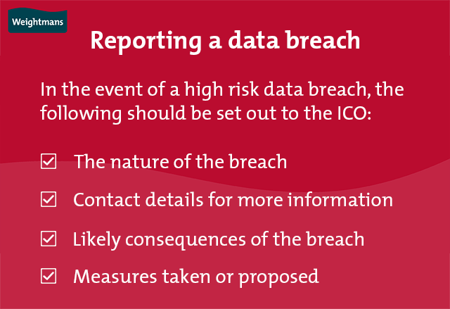 The four key things which must be set out to the ICO in the event of a high risk data breach